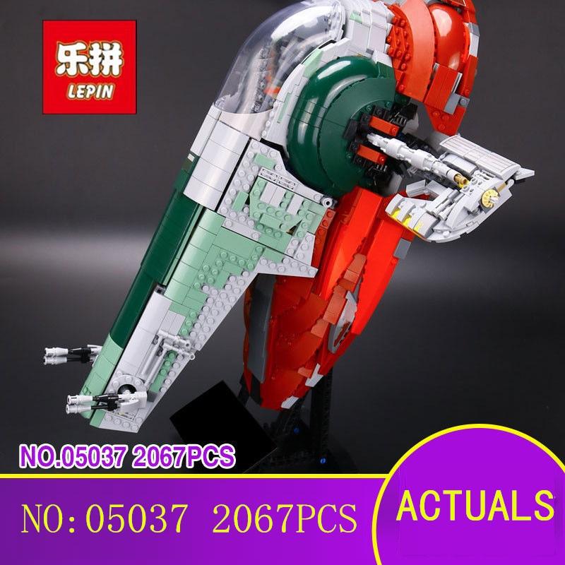 цена New LEPIN 05037 2067pcs Star UCS Wars Slave 1 Model Building Blocks Bricks Kits Compatible 75060 Children Moc Toys Gift