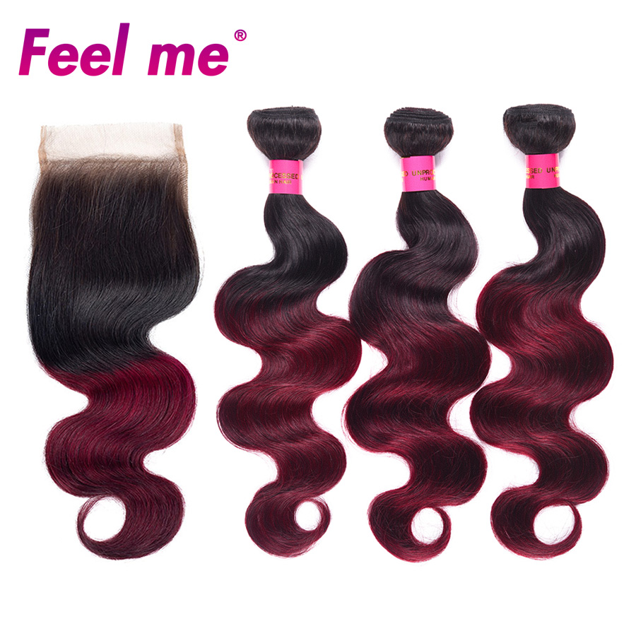 Pre Colored Ombre Indian Hair 3 Bundles With Closure 1b/99j Body Wave Human Hair Bundles With Closure Non remy FEEL ME Hair