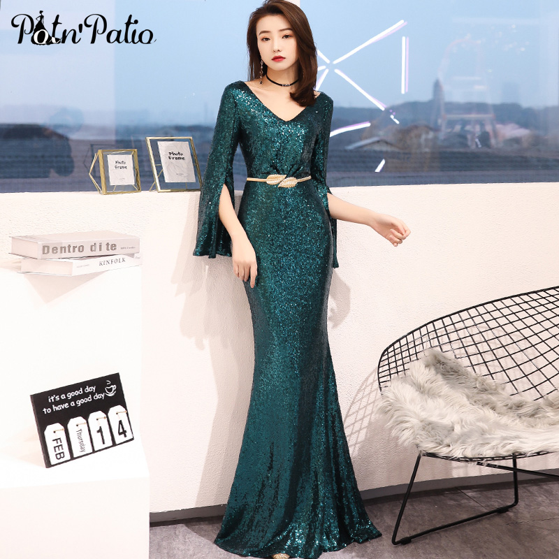 Elegant Green Long Sleeves Mermaid   Evening     Dresses   2019 New V-neck Shiny Sequined Long Women   Evening   Gowns Plus Size