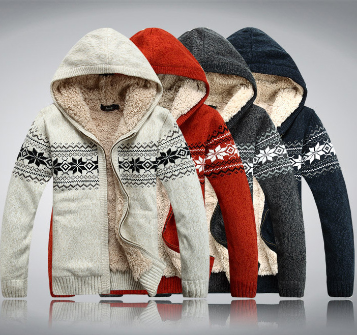 2019 winter male with a hood plus velvet thickening sweater plus size plus size sweater cardigan