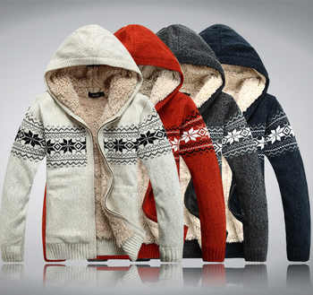 2019 winter male with a hood plus velvet thickening sweater plus size plus size sweater cardigan - DISCOUNT ITEM  0% OFF All Category