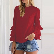 ladies tops chiffon blouses plus size women new autumn woman shirt sheath female hot sale butterfly sleeve blouse korean
