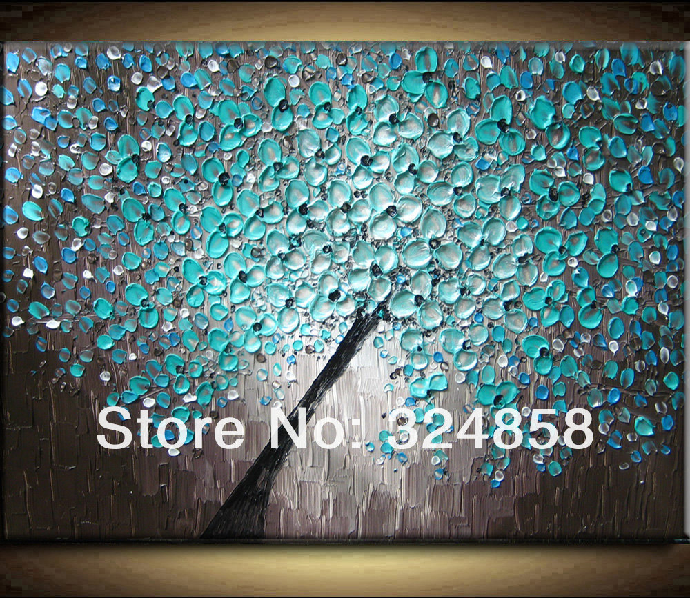 Abstract blue blossom black metallic modern art heavy - Metallic blue interior wall paint ...