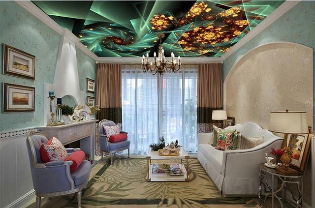 individuelle fototapeten 3d decke wandmalereien geometrischen blumen 3d decke tapete f r. Black Bedroom Furniture Sets. Home Design Ideas