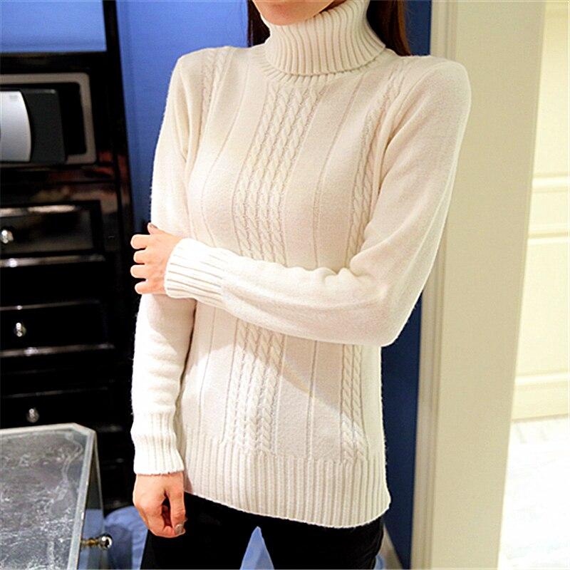 Las mujeres de cuello alto suéter básico femenino camisa del espesamiento torcid