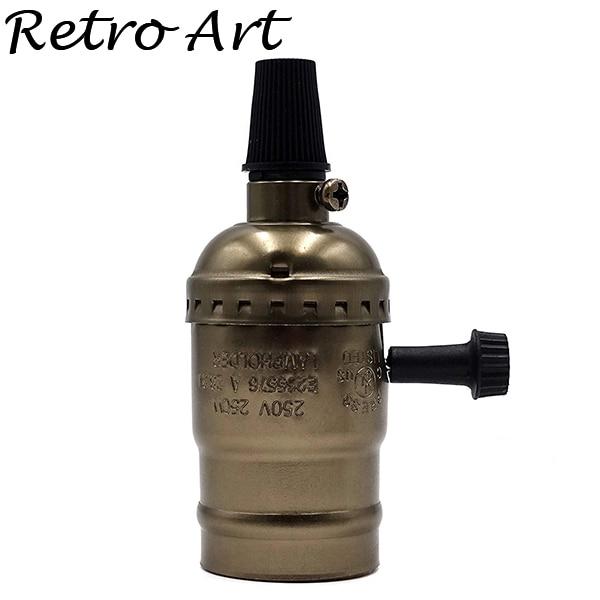 Алюминиевый патрон Эдисона с выключателем E26 E27 винтажный подвесной патрон - Цвет: S-Bronze
