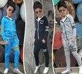 Мальчики Одежда Наборы 2016 Осень Дети спортивный костюм полный рукава с капюшоном куртки брюки дети девушки беговые костюмы для 3-9 лет