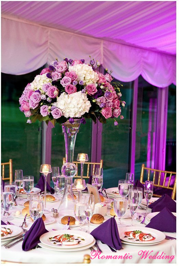 4PCS/lot Trumpet Style Flower Vase Two Opening Glass Clear Wedding Event Party Centerpieces
