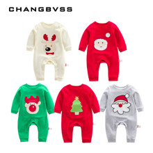 Christmas Embroidery Santa Clothing 100% Cotton Newborns Baby Boy Girl Clothes Spring Autumn Infant Long Sleeve Romper Pajamas(China)