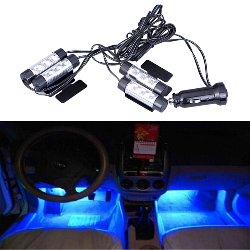 1Set Car Auto Interior Atmosphere Light Car Charge 12V 4 X 3 LED Glow Decorative 4 in1 Blue Light Foot Lamp Car Styling yijinsheng 4x12 led 7 colors car atmosphere lights decoration lamp 12v auto interior lights glow decorative cigarette lighter