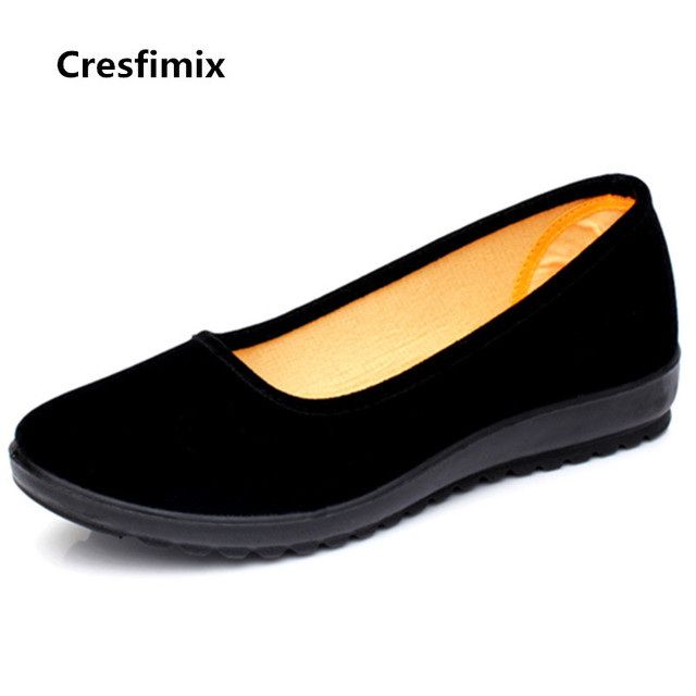 Cresfimix women fashion soft & comfortable slip on flat shoes zapatos de mujer lady cute casual black ballet dance shoes a3196 1