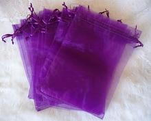 1000 stks 10*15 cm Donker paars Organza gift bag sieraden verpakking display tassen Koord pouch voor armbanden/ketting/wed Garen tas