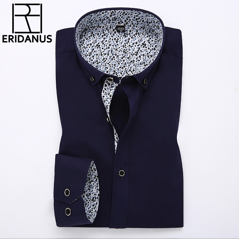 2016 Men Dress Shirts Casual Business Long Sleeve Slim Fitness Fashion Design Patchwork Printed Collar Non