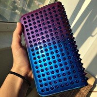 2018 top hot special new, leather men and women, mini wallet rivets long section ladies handbags, zipper ladies fashion classic