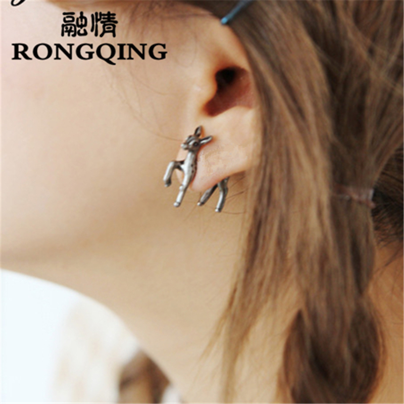 RONGQING 1pair New Fashion Punk Gothic Jewelry 3D Animal Sika deer Earrings for Punk Men Women Gifts