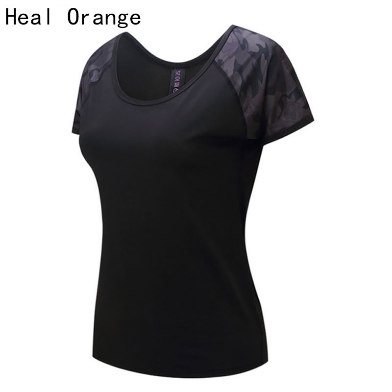 HEAL ORANGE Women's Yoga Shirts Yoga Top Gym Woman Fitness Tops Sport Shirt Yoga T Shirt Running Women Gym Tank Ladies T-Shirt heal orange women mesh hollow yoga top full sleeve sport t shirt quick dry fitness clothing sports gym running jogging shirts