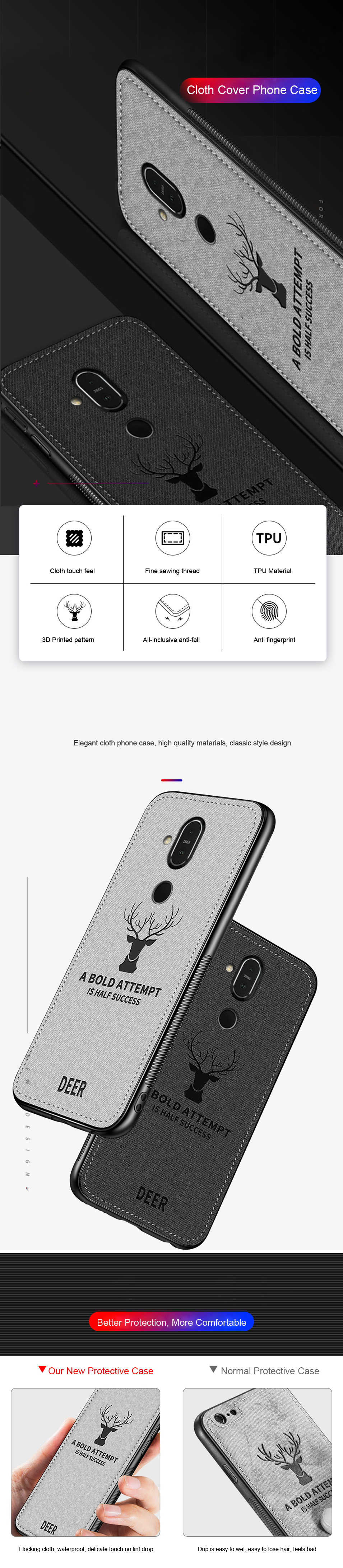 DEER Patterned Classic Retro Cloth Cases for Nokia 7 Plus x7 x6 x5 8 Sirocco Case Soft Back Cover For Nokia X7 X6 X5 Shell Coque (8)