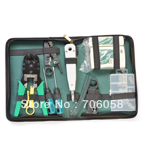10PCS Network Cable Tool Kit Computer Cable Tester Diagnostic Tool Kit Bag Network Cable Crimper Cutter Screwdriver wlxy 11 in 1 telecommunications maintenance diagnostic tools set ns 468 cable tester 3 way crimper tool cable stripper
