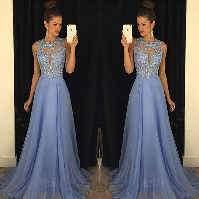 High Quality Wedding Guest Dress Illusion Appliques Tulle Scoop Full-Length Illusion Appliques Sleeveless Bridesmaid Dresses
