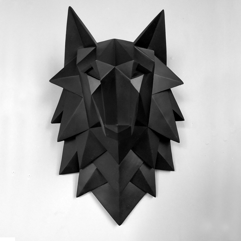Home Statue Decoration Accessories  3D Abstract Wolf Head Sculpture Wedding Chrismas Wall Decor Handmade Resin Art Craft Artware