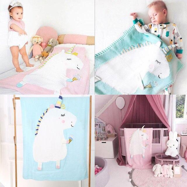 Fashion Unicorn Soft Muslin Baby Wrap Swaddling Blanket Newborn