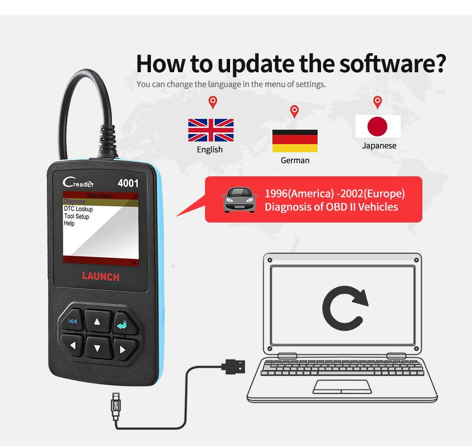 Details about 2019 Launch X431 CR4001 Car Auto Code Reader Car Diagnostic  Scan Tool OBD2 EOBD
