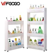 Wfgogo многоцелевой Ванная комната для хранения полка многослойная холодильник сбоку полка со съемными Колёса трещины