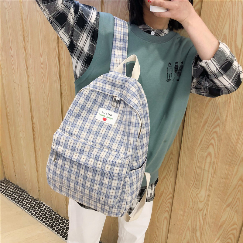 DCIMOR New Plaid Canvas Women Backpack Korean College Style School Bags For Teenagers Female Travel Backpacks Girls Mochilas