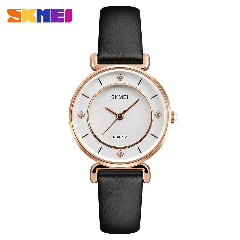 SKMEI Women's Watches Leather Strap Quartz Woman Wrist Watch Top Brand Luxury Ladies Watch 2018 New Style relogio feminino 1330