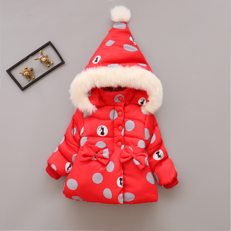 2017 Winter Baby Girls Coats Infant/Newborn Warm Jackets Cartoon Children Thick Outerwear Kids Outdoor Snow Parkas 12M-4T 2017 new baby girls boys winter coats jacket children down outerwear warm thick outdoor kids fur collar snow proof coat parkas