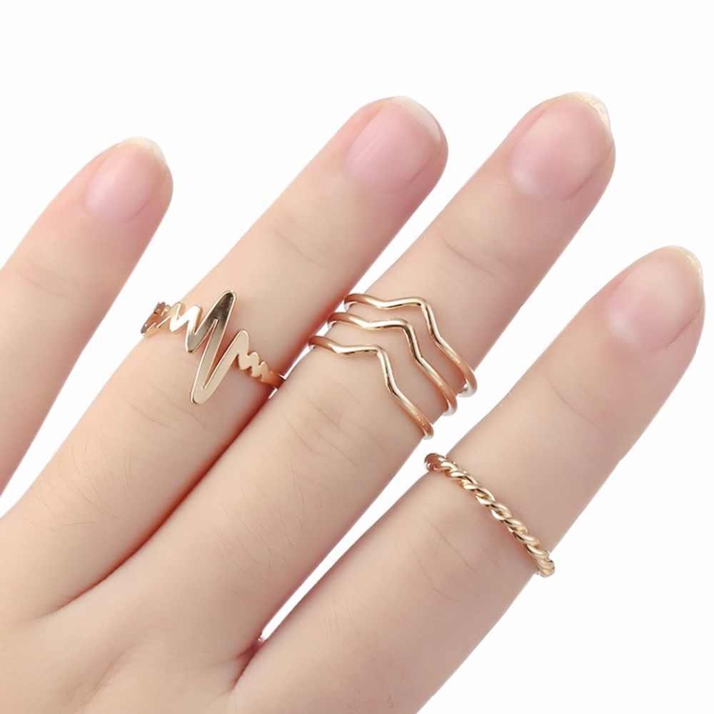QIMING זהב אצבע טבעת נשי נשים של מינימאלי מינימליסטי תכשיטי CZ קריסטל מפרק הבוהן טבעת סטים עבור בנות מתנת טבעות