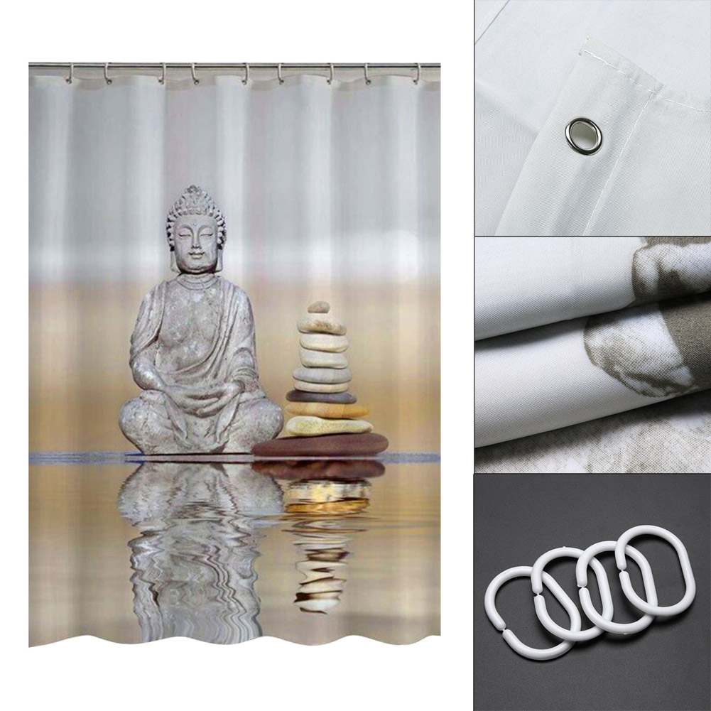 180cm * 180cm Buddha Shower Curtains Waterproof Fabric Bathroom Curtain  With Hooks Custom Shower Curtain For Home Decor