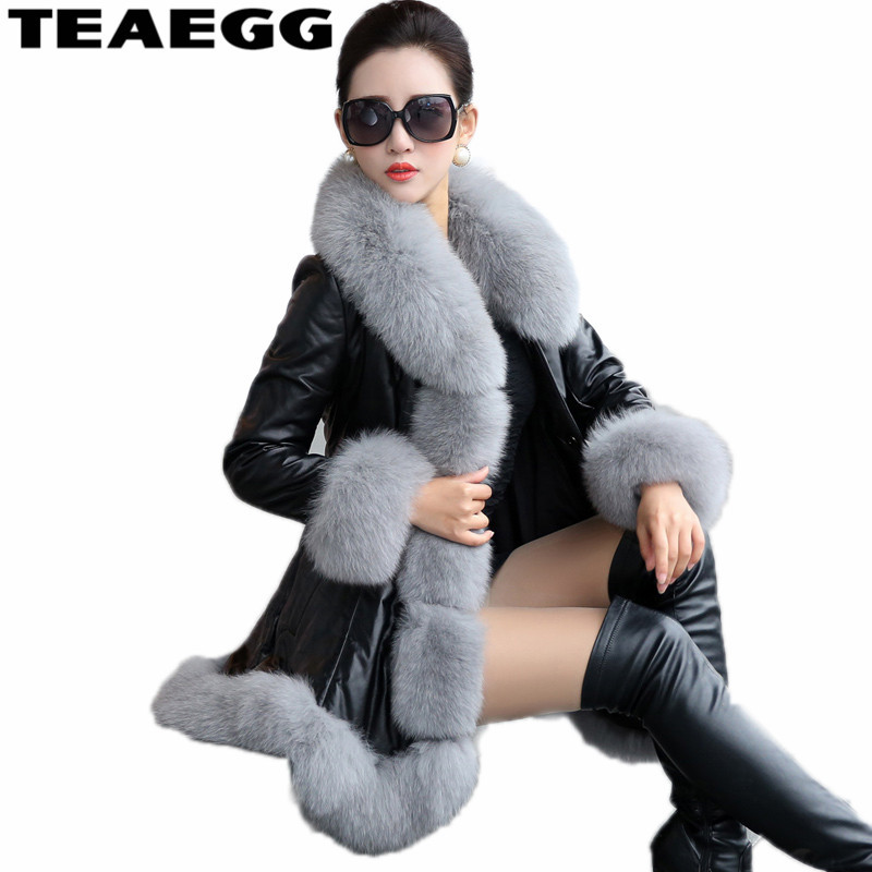 TEAEGG Thick Winter Coat Women's   Leather   Jacket Female Jaqueta De Couro Feminina Faux Fox Fur Collar PU   Leather   Jackets 6XL AL97