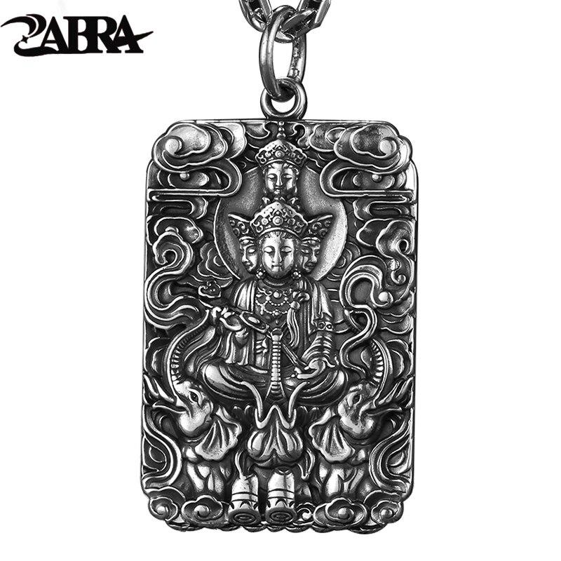 ZABRA Religion Pure 990 Sterling Silver Buddha Patron Saint Pendant Men Vintage Retro Chinese Zodiac Signs