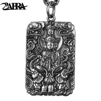 ZABRA-Colgante religioso para hombre, de Buda plateado de ley 990 pura, patrón...