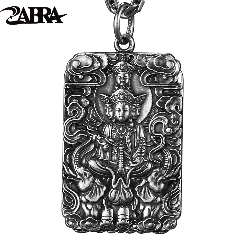 ZABRA Religion Pure 990 Sterling Silver Buddha Patron Saint Pendant Men Vintage Retro Chinese Zodiac Signs Jewelry For MaleZABRA Religion Pure 990 Sterling Silver Buddha Patron Saint Pendant Men Vintage Retro Chinese Zodiac Signs Jewelry For Male