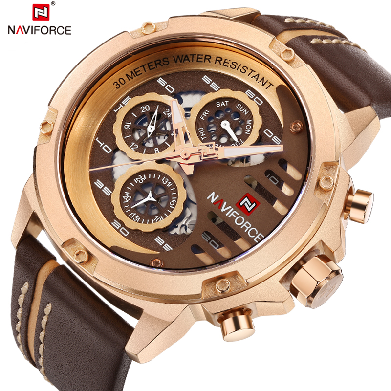<font><b>NAVIFORCE</b></font> Men Watch Date Week Sport Mens Watches Top Brand Luxury Military Army Business Genuine Leather Quartz Male Clock <font><b>9110</b></font> image