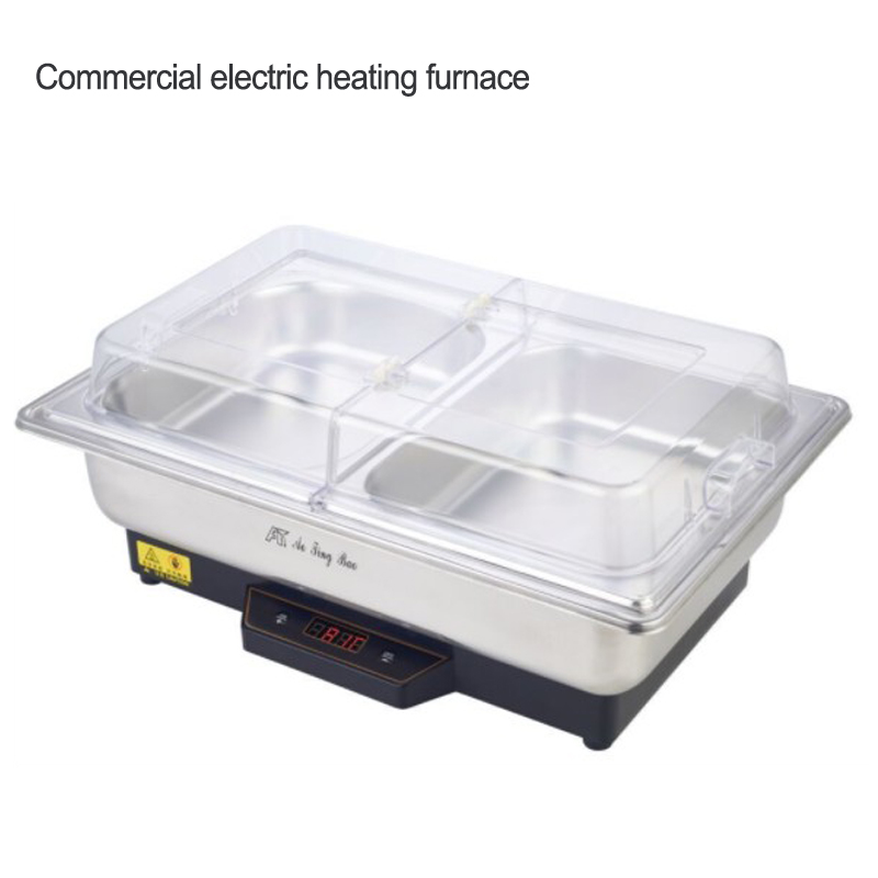 Stainless steel Electric heating temperature adjustable furnace with visible transparent cover 110v/220v Commercial Buffet stoveStainless steel Electric heating temperature adjustable furnace with visible transparent cover 110v/220v Commercial Buffet stove
