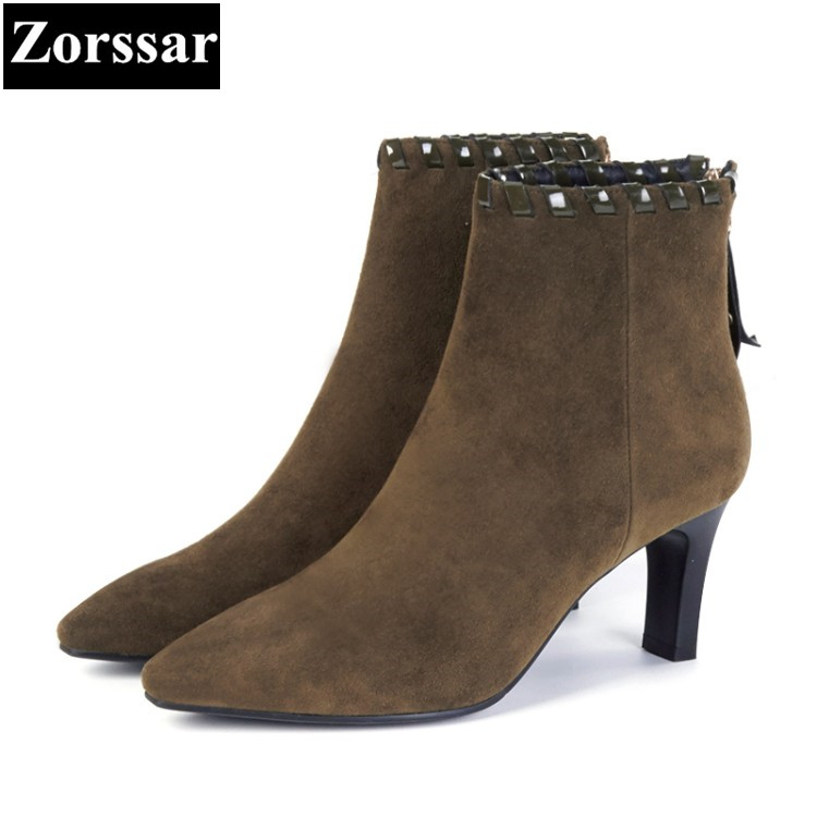 {Zorssar} 2018 Large size Women shoes Thin heels pointed Toe High heels ankle Riding boots fashion Suede womens boots winter  цена и фото