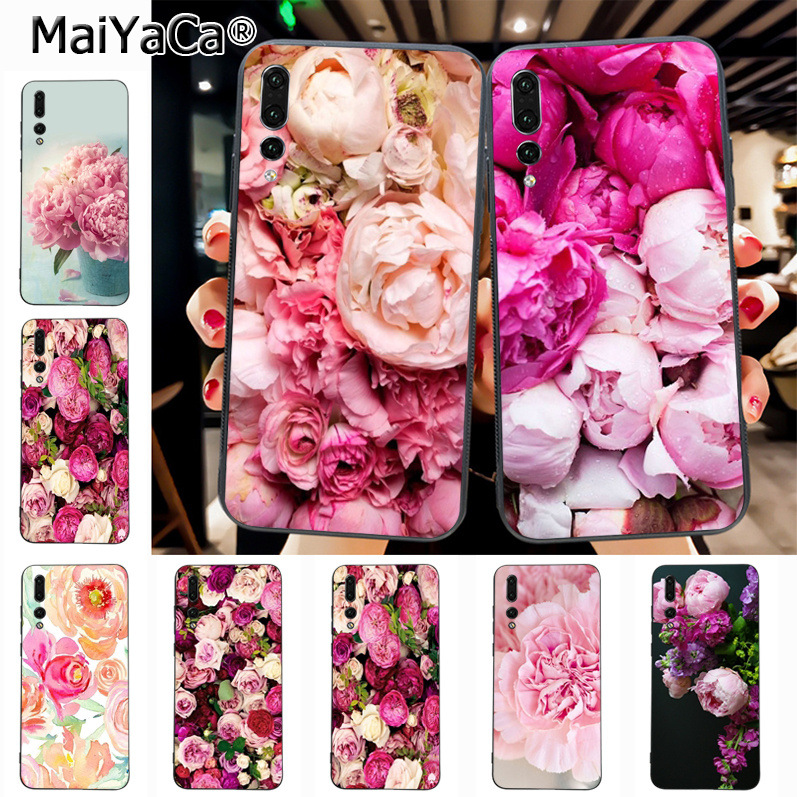 Maiyaca peony Pink Peonies flower Diy Luxury High-end Protector phone Case for Huawei P20 P20 pro Mate10 P10 Plus Honor9 cass(China)