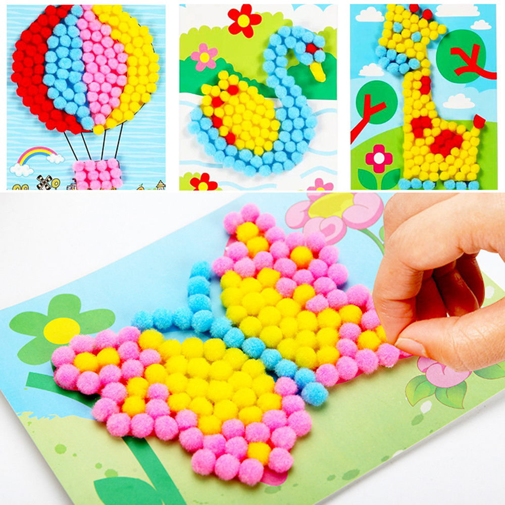 Kindergarten Children DIY Material Pompon Stickers Hand-made Creative Hair Ball Painting CYSG-021 8 Style Randomly 2019 New Gift