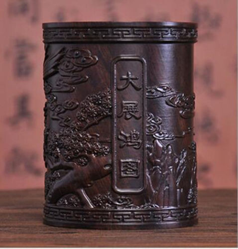 China wood carving Brush Pot Pencil Vase home decoration eagle spread your wings and fly statue Wooden craftsChina wood carving Brush Pot Pencil Vase home decoration eagle spread your wings and fly statue Wooden crafts