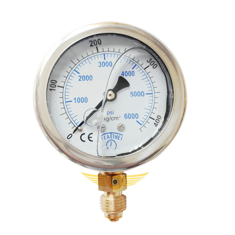 PCP Paintball High Pressure Gauge 60MM Oil Filled Gauge 400Bar Stainless Steel G1/4 Connection