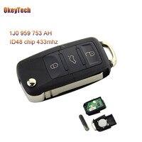 OkeyTech 3 Buttons Từ Xa Chính Switchblade Lật Folding Key 433 Mhz ID48 Chip đối với VW Volkswagen B5 Golf Polo Passat 1J0 959 753 AH