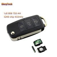 OkeyTech 3 Buttons Remote Key Switchblade Flip Folding Key 433Mhz ID48 Chip For VW Volkswagen B5