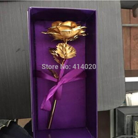 10Pcs/lot Lover's Gifts 24k Gold Rose Flower Gold Dipped Rose With Box Wedding Valetine's Day Supplies