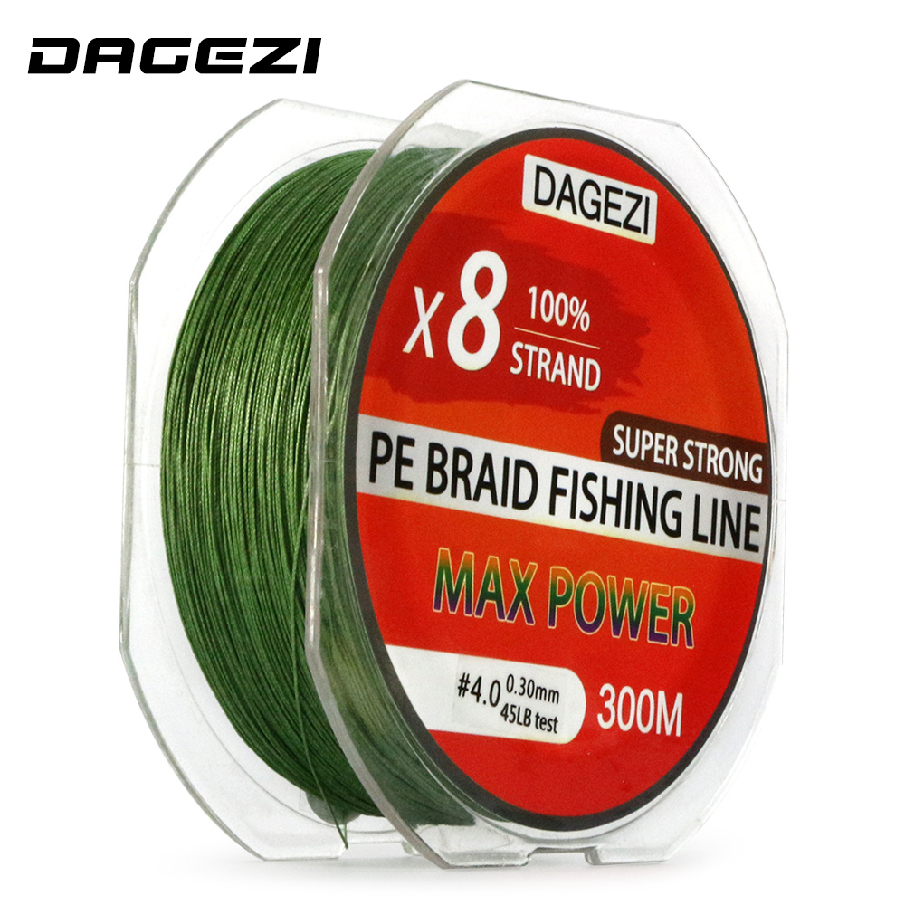 Dagezi 8 strand 300m 330yds with gift super strong 10 80lb for Best fishing line brand