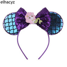 1PC New Mermaid Minnie Mouse Ear Headbands Sequin Bows DIY Hair Accessories For Kids Trendy Headwear
