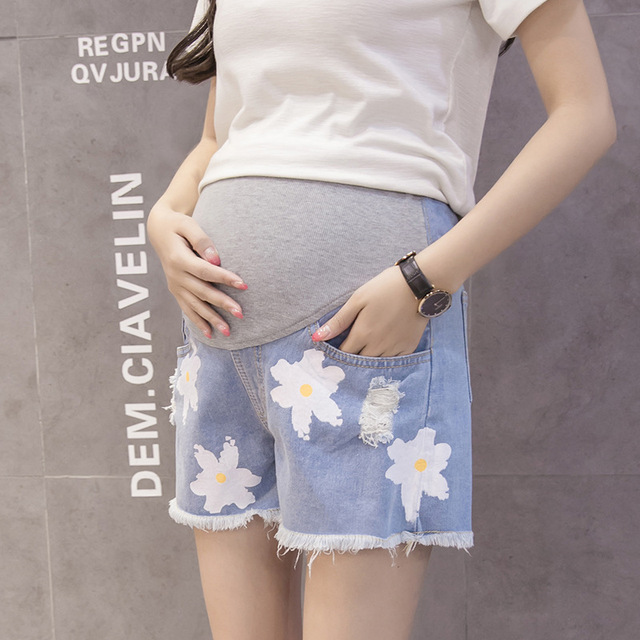 d24efa1cc833f Belva Pregnant Shorts Maternity Shorts Adjustable Plus Size Tore Up Jeans Pregnancy  Clothing for Pregnant Women 666