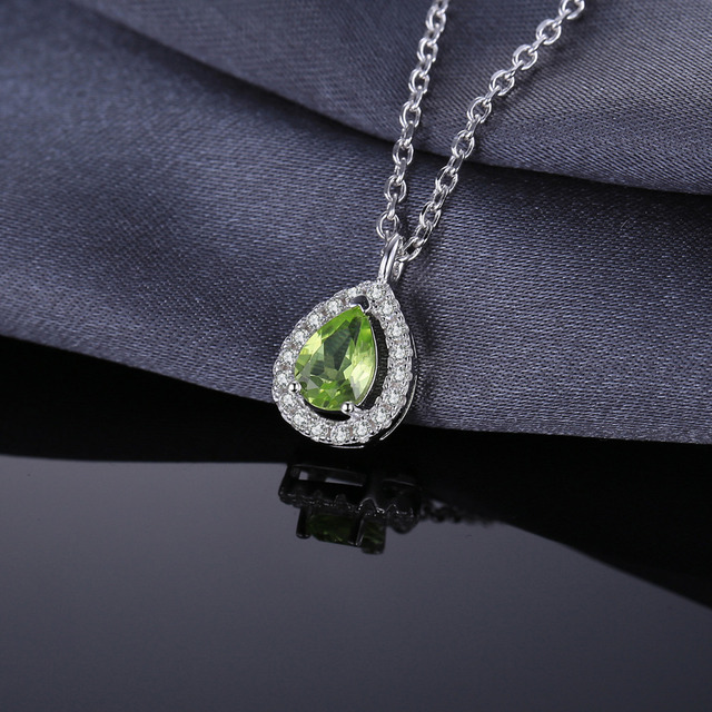 Natural Peridot Pear Necklace